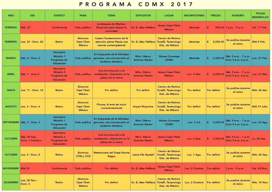 casa tibet mexico cdmx actividades 2017